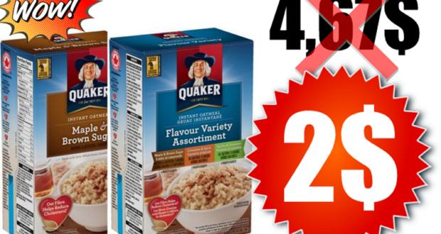 Boîte de gruau instantané Quaker 216 g - 430 g à 2$