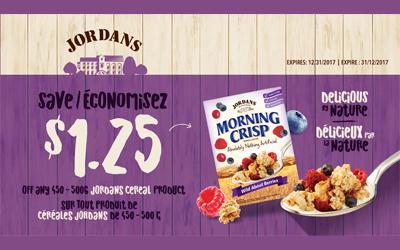 Coupon rabais de 1.25$ à l'achat de céréales Jordans