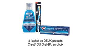 2$ de rabais sur DEUX produits Crest OU Oral-B au choix