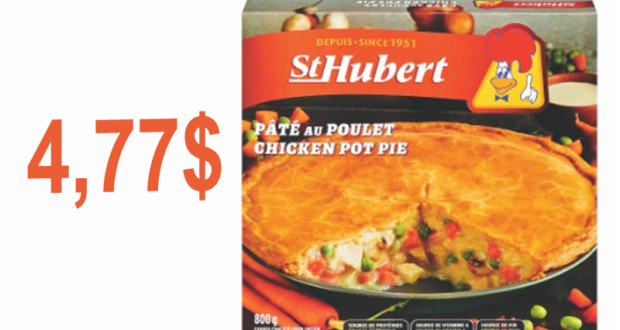 Pâtés, tourtière ou quiche St-Hubert à 4,77$