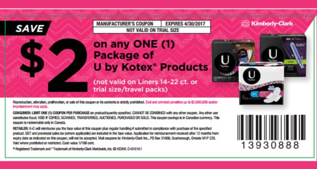 Coupon de 2$ à l'achat d'un produit U by Kotex