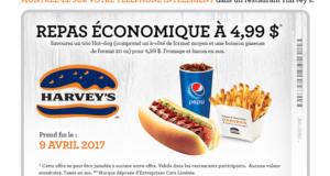 Repas économique à 4,99$ seulement chez Harvey's