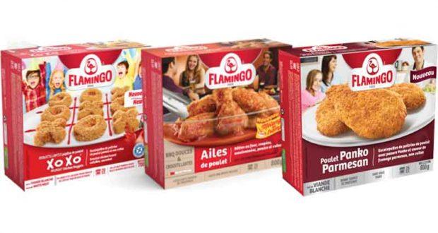 Produits du poulet pané ou les ailes de poulet Flamingo à 5,49$