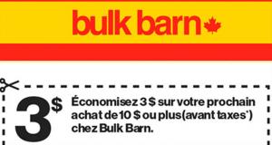 Coupon Bulk Barn de 3$ sur tout achat de 10$ ou plus