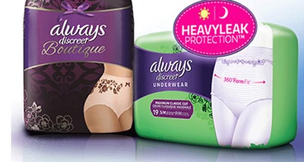 Coupon de 3$ sur un emballage de Always Discreet, au choix