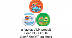 Coupon de 2 $ à l'achat d'UN produit Tide PODS OU Gain flings