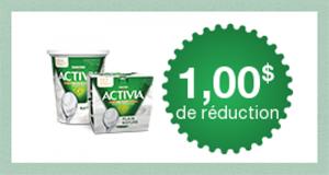 Coupon rabais de 1$ sur un emballage d'Activia NATURE