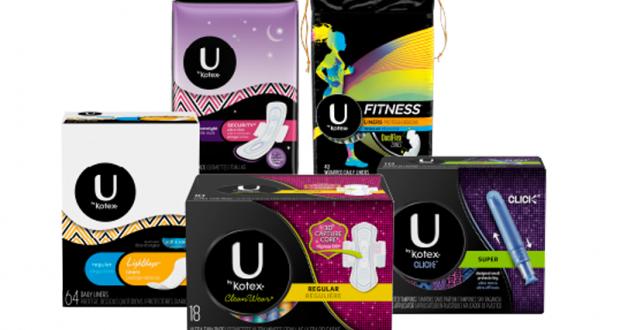 Emballage de serviettes hygiéniques ou tampons U by Kotex à 99¢