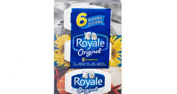 Emballage de 6 boîtes de papier mouchoirs Royale à 2,99$
