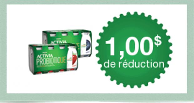 Coupon de 1$ à l'achat d'un emballage de Activia à boire