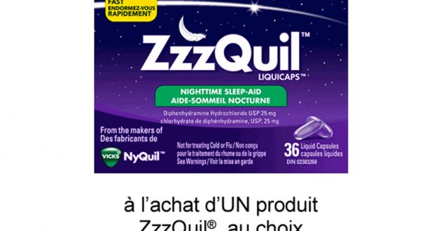 Coupon de 1$ à l'achat d'UN produit ZzzQuil au choix