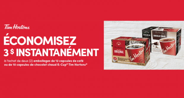 Coupon de 3$ café ou chocolat chaud K-Cup Tim Hortons