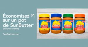 Coupon de 1$ sur un pot de beurre d'arachides Sunbutter