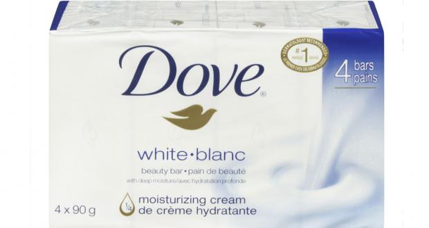 Emballage de 4 pains de savon Dove à 2$