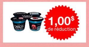Coupon de 1$ sur un emballage de Oikos Triple Zéro Franboises-Açai