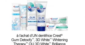 Coupon de 2$ à l'achat d'un dentifrice Crest Gum Detoxify