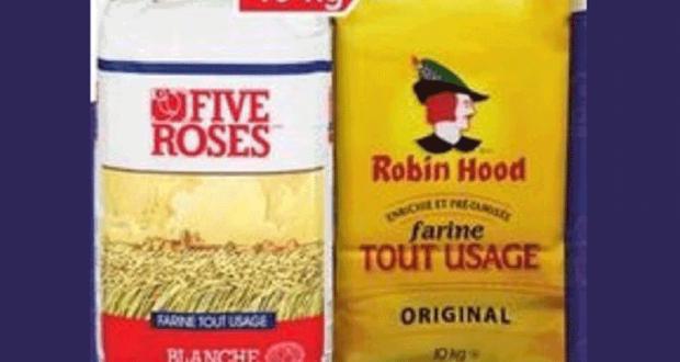 Farine tout usage Five Roses ou Robin Hood 10kg à 8.77$